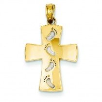 Footprints Cross Pendant in 14k Yellow Gold