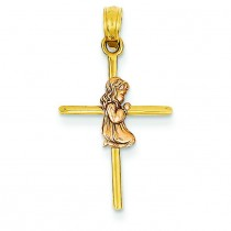 Girl On Cross Communion Pendant in 14k Two-tone Gold