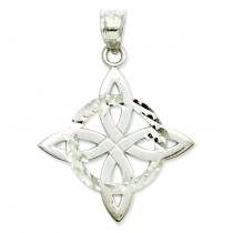 Solid Trinity Pendant in 14k White Gold
