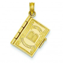 Ten Commandments Bible Pendant in 14k Yellow Gold