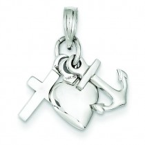 Faith Hope Charity Charm in 14k White Gold