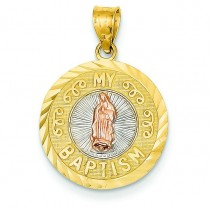 Our Lady Of Guadalupe My Baptism Charm in 14k Tri-color Gold