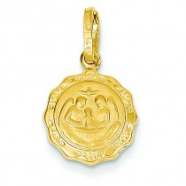 Hollow Baptism Charm in 14k Yellow Gold