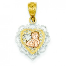 Filigree Angel Heart Pendant in 14k Tri-color Gold