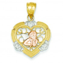 Angel In Heart Pendant in 14k Yellow Gold