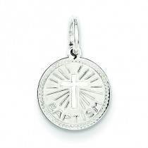 Baptism Disc Charm in Sterling Silver