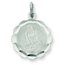 Praying Hands Disc Charm in Sterling Silver