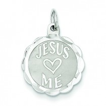 Jesus Loves Me Disc Charm in Sterling Silver