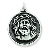 Antiqued Ecce Homo Medal in Sterling Silver