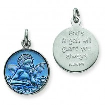 Blue Epoxy Angel Charm in Sterling Silver