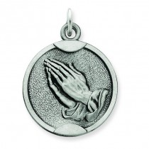 Antiqued Praying Hands Medal in Sterling Silver