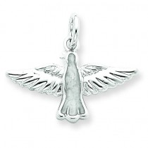 Enameled Holy Spirit Charm in Sterling Silver