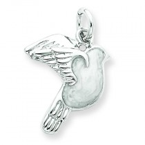 Enameled White Dove Charm in Sterling Silver