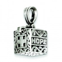 Faith Hope Prayer Box Pendant in Sterling Silver