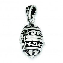 Oval Prayer Box Pendant in Sterling Silver