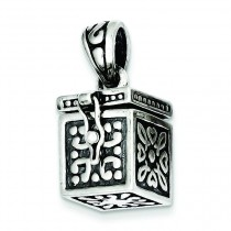 Square Prayer Box Pendant in Sterling Silver