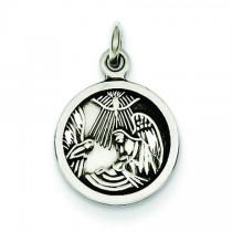 Antiqued Baptism Medal in Sterling Silver