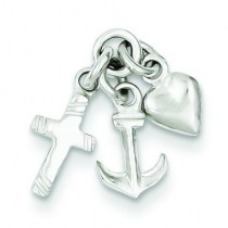 Faith Hope Charity Charm in Sterling Silver