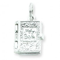 Holy Bible Charm in Sterling Silver