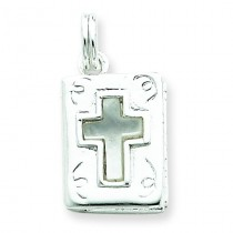 Mother of Pearl Bible Charm in Sterling Silver