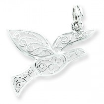 Filigree Holy Spirit Charm in Sterling Silver