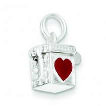 Enameled Heart Prayer Box Charm in Sterling Silver