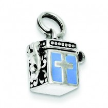 Enamaled Prayer Box Charm in Sterling Silver