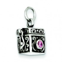 Antiqued Prayer Box Charm in Sterling Silver