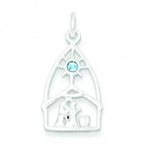 Swarovski Crystal Nativity Charm in Sterling Silver