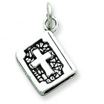 Antiqued 3D Bible Charm in Sterling Silver