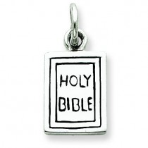 Antiqued Holy Bible Charm in Sterling Silver