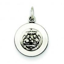 Antiqued Baptismal Medal in Sterling Silver