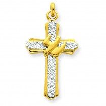 Dove Cross Charm in Sterling Silver