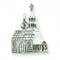 3 D Church Charm in Sterling Silver