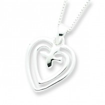 Hearts Dove Necklace in Sterling Silver