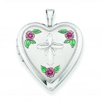 Cross Design Heart Locket in Sterling Silver