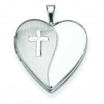 Cross Polished Heart Locket in Sterling Silver