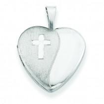 Diamond Cross Heart Locket in Sterling Silver