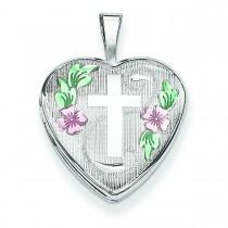 Cross Flowers Heart Locket in Sterling Silver