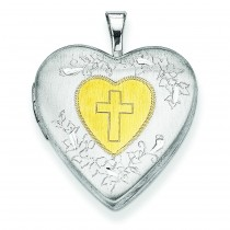 Yellow Cross Locket in Sterling Silver