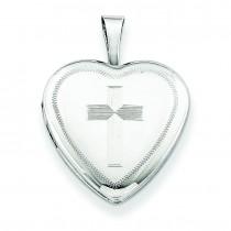 Cross Heart Locket in Sterling Silver