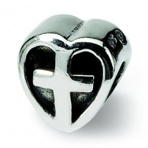 Kids Heart Cross Bead in Sterling Silver