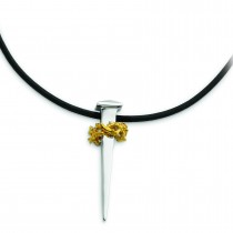 Gold Plated No Greater Love Nail In Necklace in Sterling Silver
