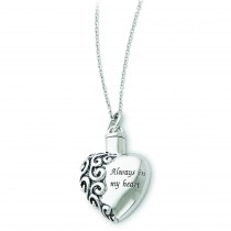 Heart Ash Holder Necklace in Sterling Silver