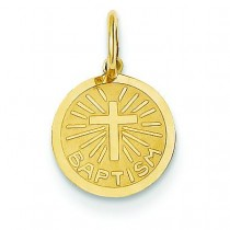 Solid Small Baptism Charm in 14k Yellow Gold