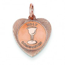 Holy Communion Heart Charm in 14k Rose Gold