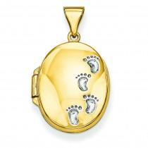 Footprints Locket in 14k Yellow Gold