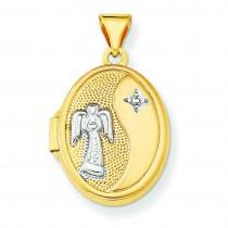 Guardian Angel Oval Locket in 14k Yellow Gold