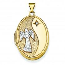 Guardian Angel Diamond Oval Locket in 14k Yellow Gold