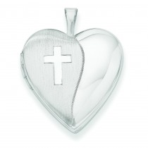 Polished Cross Heart Locket in 14k White Gold